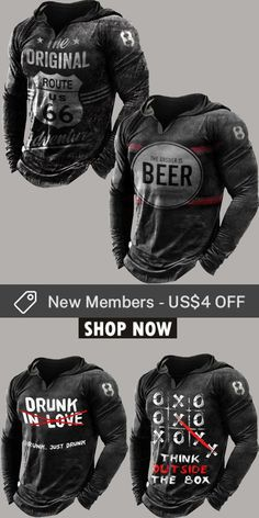 Up to 45% off! Men fashion long-sleeve T-shirt and accessories holiday sale for discount, free shipping on order $59. Shop now! #sale #men #outfits #accessories #shoes #shirt #tee #fall #winter #hoodie #tactical Drunk In Love, Mens Fashion, Fashion Outfits, Mens Clothing Styles, Motorcycle Jacket, Print Design, Long Sleeve Shirts, Shop Now, Men Shirts