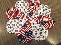 Patriotic Flag & Stars Dresden Plate Quilted Table Topper