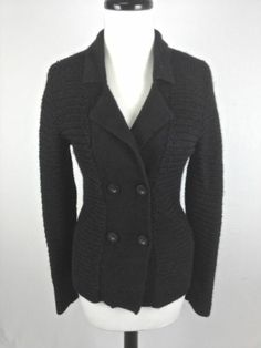 J Crew Sweater Wool Merino Black Button Up Luxury 3 4 Sleeve ...