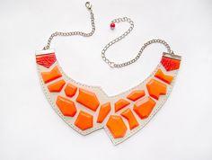Geometric Leather Necklace neon orange and por AbraKadabraJewelry
