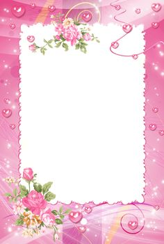 Pink PNG Photo Frame with Roses.