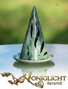 Geschirr- & Porzellan-Sets - Windlicht Kegel mit Tellerchen - Keramik - ein Designerstück von Honiglicht bei DaWanda