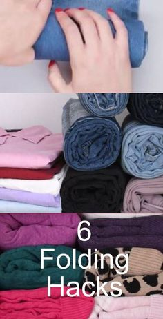 Save and time and closet space with these 6 folding hacks. Watch to see awesome ways to fold your clothes. Save and time and closet space with these 6 folding hacks. Watch to see awesome ways to fold your clothes. Wardrobe Organisation, Organization Hacks, Organizing Clothes Drawers, Storing Clothes, Folding Jeans, Organizar Closet, Closet Hacks, Packing Clothes, Rolling Clothes For Packing