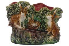 Majolica Rabbit Jardinière