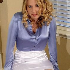 Excuse me, ma'am, but I'm assuming you want me across your knee, right? Sexy Blouse, Blouse And Skirt, Shirt Skirt, Blouse Dress, Nylons, In Pantyhose, Satin Top, Silk Satin, White Satin