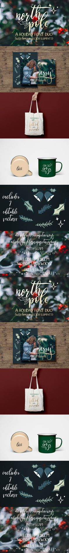 North Pole | A Holiday Font Duo. Sans Serif Fonts. $15.00