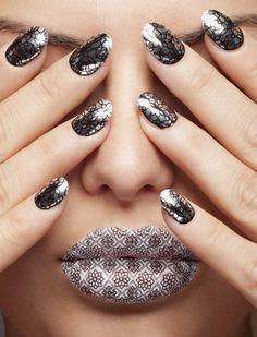Striking Metallic Nails - metallic silver nails with black web design - Metallic Nail Polish, Silver Nails, Black Nails, Bow Nail Designs, Nice Lips, Nail Photos, Minx Nails, Tips & Tricks, Cute Bows
