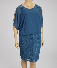 Take a look at this Blue Embellished Lace Blouson Dress - Plus by R&M Richards on #zulily today!