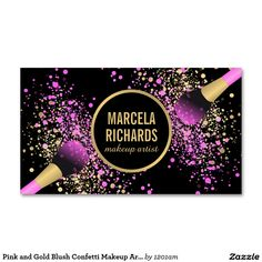 Pink and Gold Blush Brushes Makeup Artist Business Card - Personalize with your name or business name for a customized design Makeup Artist Logo, Makeup Artist Business Cards, Makeup Artists, Hair Salon Logos, Elegant Business Cards, Pink And Gold, Purple, Creative Makeup, Confetti
