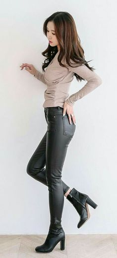 Leather pants ankle boots