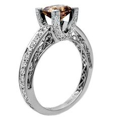 Unique Wedding Ring - chocolate diamond with white gold