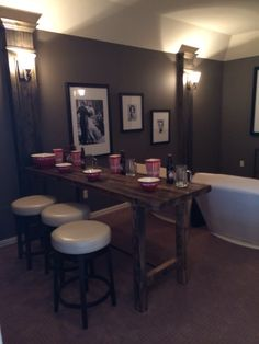 Media room idea. Long bar table for add'l seating