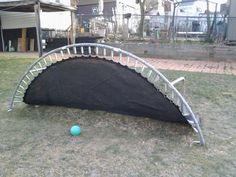 My brother recycled the kids broken trampoline into a soccer rebounder