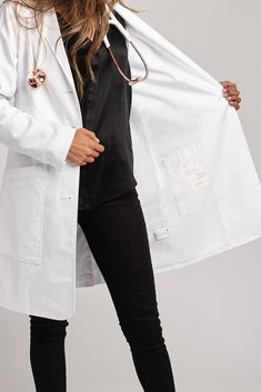 Because perfection is a moving target, we gave our already awesome lab coat a makeover. The Aurora lab coat has high-tech functionality and even higher style. Multiple pockets and fully lined. Nurse Aesthetic, Aesthetic Doctor, Medical Students, Medical School, Doctor Coat, Medical Quotes, Medicine Student, Female Doctor, Woman Doctor