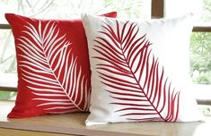 Red Throw Pillow, Leaf Decorative Pillows ,Floral Embroidery Pillow, White Linen Cushion, Custom PIllows Red Palm Leaves Decorative Pillow Covers Set Of 2 by KainKain Modern Decorative Pillows, Modern Pillows, Decorative Pillow Covers, Red Throw Pillows, Floral Pillows, Couch Pillows, Floral Couch, Bolster Pillow, Pillow Room