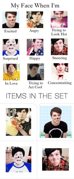 """My Face When I'm (Dan and Phil edition)"" by myfics222 ❤ liked on Polyvore featuring art"
