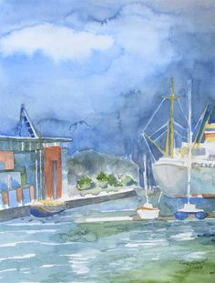 Hanse Sail, Baltic Sea, Watercolor Paintings, Watercolours, The Good Place, Sailing, Places, Lighthouses, Art