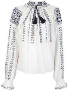 Antik Batik Blouses for Women Shirt Embroidery, Embroidery Fashion, White Peasant Blouse, Eid Outfits, Diy Clothes, Blouses For Women, Boho Fashion, Rainforests, Anthropologie