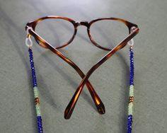blue mint & gold sunglass chains eyeglass by StringEmAlong