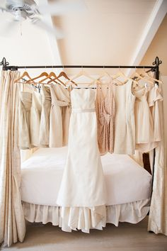 Bridesmaids Dresses - Neutral Color Palette - More of the wedding here: http://www.StyleMePretty.com/california-weddings/2014/04/09/modern-garden-party-in-southern-california/ Photography: Studio28Photo.com