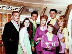 Lost in Space (TV show) Jonathan Harris, Angela Cartwright, Mark Goddard, June Lockhart, Bill Mumy, Guy Williams and Marta Kristen (from left)...Where's Debbie?