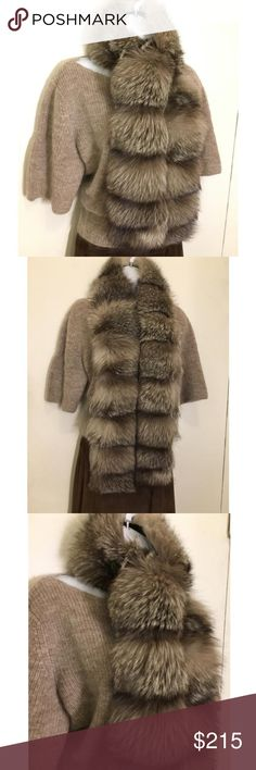 """New Genuine Frost Silver Fox Scarf 53"""" Long This brand new never worn couture quality frosted silver fox fur wrap/scarf is made of the highest quality Finnish fox fur.  Made in France.  A generous 53"""" long and 6"""" wide.  Rich coloring and luxurious thick fur will be sure to turn heads. Accessories Scarves & Wraps"""
