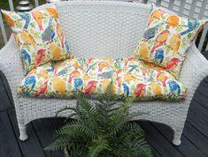 Indoor / Outdoor Cushion 3 PC Set For Wicker Loveseat Bench Settee   Ash  Hill Fabric   Blue, Green, Orange Birds