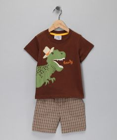Take a look at this Brown 'Howdy' Dino Tee & Plaid Shorts - Infant by S.P.UDZ on #zulily today!