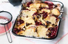 Brotauflauf mit Preiselbeeren Quiche, French Toast, Cooking, Breakfast, Desserts, Food, Souffle Dish, Easy Meals, Recipies