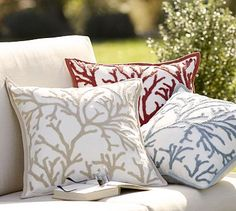 Adore these pillows for baby Girard's nursery! Branch Coral Embroidered Outdoor Pillow #potterybarn