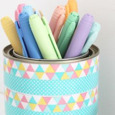 Restyle an old or new paint pot into a pen pot with just some washi tape!