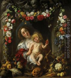 Madonna with child in a flower garland Jacob Jordaens | Oil Painting Reproduction | 1st-Art-Gallery.com