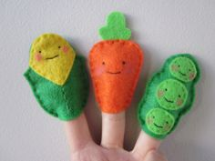 Cute Vegetables Finger Puppets | Corn, a carrot and peas. | Flickr