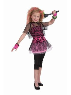 Rock Star Girl Costume - Say What? Go to the Maxx at your next party with this awesome Punk Rock Star costume. It comes with pink zebra tank top tunic, crop mesh top and an elastic waistband. Easy to wear and make even more for school and Halloween. Rockstar Halloween Costume, 80s Halloween Costumes, Wholesale Halloween Costumes, Retro Costume, Girl Costumes, Costumes Kids, Costume Ideas, Halloween Ideas, Girl Halloween