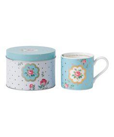 Love this Polka Blue China Mug & Tin by Royal Albert on #zulily! #zulilyfinds