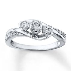 3-Stone Round Diamond Engagement Ring White Gold Twist Swirl Four-Prong Traditional Bypass Surface-Set Accent-Stones