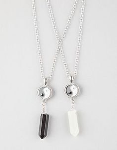 FULL TILT 2 Piece Yin Yang/Crystal Necklace        Silver