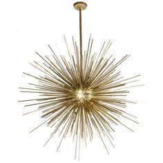 Spectacular Mid Century Modernist Gilt Bronze Sputnik Chandelier
