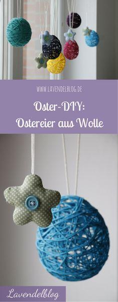 Lust auf eine DIY für Ostern? Tolle Osterdeko: Ostereier aus Wolle als Fensterdeko oder als Anhänger für den Osterstrauch.