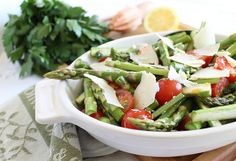 asparagus + tomato salad (modify for thursday by cooking asparagus and doing a balsamic dressing)