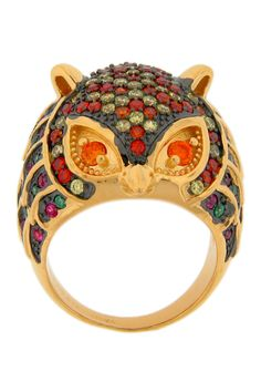 All The Rage 18K Yellow Gold Vermeil CZ Owl Ring  Pinned by www.myowlbarn.com