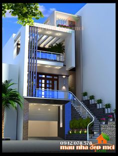 Architecture Beast: House colors: Amazing modern facade in brown Narrow House Designs, Modern Small House Design, Small House Exteriors, Cool House Designs, 3 Storey House Design, Duplex House Design, House Front Design, Home Building Design, Building A House