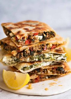 Stack of Gozleme with Spinach and Feta, spiced Lamb or Beef filling - fav spinach/feta, add lemon & motz cheese, white flatbread Meat Recipes, Vegetarian Recipes, Cooking Recipes, Healthy Recipes, Lamb Mince Recipes, Minced Beef Recipes, Healthy Dishes, Chicken Recipes, Gozleme Recipe