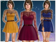 #Sims3 Cleotopia's Vintage Lace Sleeves Dress Belted