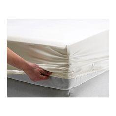 IKEA - GÄSPA, Hoeslaken, 90x200 cm, , Beddengoed van satijngeweven katoen is erg zacht en biedt een aangenaam slaapcomfort. Door de uitgesproken glans ziet het er prachtig uit op je bed.Het gekamde katoen maakt het beddengoed extra zacht en glad, en dat voelt lekker aan tegen de huid.Voor matrassen van max. 26 cm dik omdat het hoeslaken elastische randen heeft.