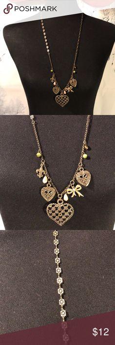 "Rachel long necklace ❤️ Nice 15"" bronze necklace by Rachel hearts 💕 and fleur de lis and more  charms. 😊❤️🐾🐾 Rachel Jewelry Necklaces"