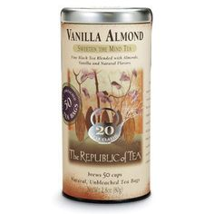 My favorite from The Republic of Tea Vanilla Almond Black Tea