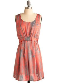 Coral and grey dress~ so cute for rehearsal dinner!