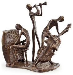 Musician Trio on Base Bronze Sculpture contemporary-decorative-objects-and-figurines