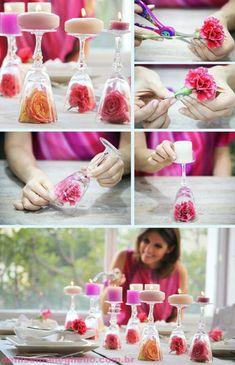 candelabros con flores